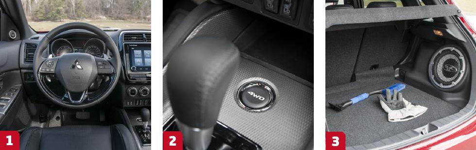 1. Interiören känns aningen plastig och daterad. || 2. Med knappen framför växelspaken kan föraren koppla på och av fyrhjulsdriften. || 3. Bagaget slukar 406 liter.