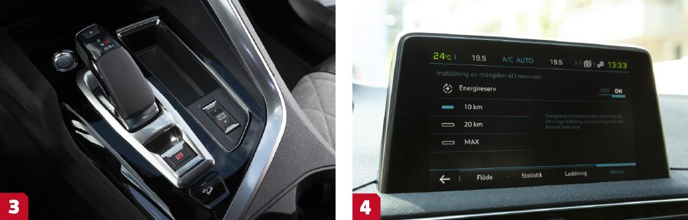 3. Peugeot är ensam i kvintetten att förlita sig på en åttastegad automatlåda med momentomvandlare. || 4. Välj att spara lite räckvidd på el till ett senare tillfälle. i Peugeot finns 10 eller 20 km i förinställda program.