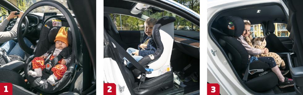 1. Babyskydd kan monteras med bilens egna bälte eller – allra helst – på en bas med Isofixfäste. || 2. Bakåtvänd bilbarnstol är det säkraste färdsättet. Framsätet ger bättre plats åt långa barn. || 3. Från cirka fem år kan barnen sitta framåtvända i en bältesstol.