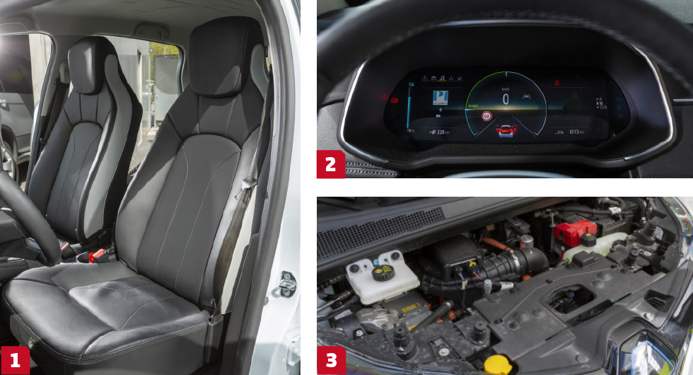 1. Alla förare höll Zoes ganska stora stolar som de bästa men de skymmer utsikten för dem där bak. || 2. Zoes instrument är snarlika dem i Clio, en skärm med tydlig visning av sakernas tillstånd. Den lilla bilsymbolens blinkers blinkar samtidigt med de riktiga – designers på lekhumör! || 3. Numera finns gott om kraft i Zoe – av den första versionens batteri på 22 kWh har det blivit 52 och fartresurserna är klart bäst i trion.
