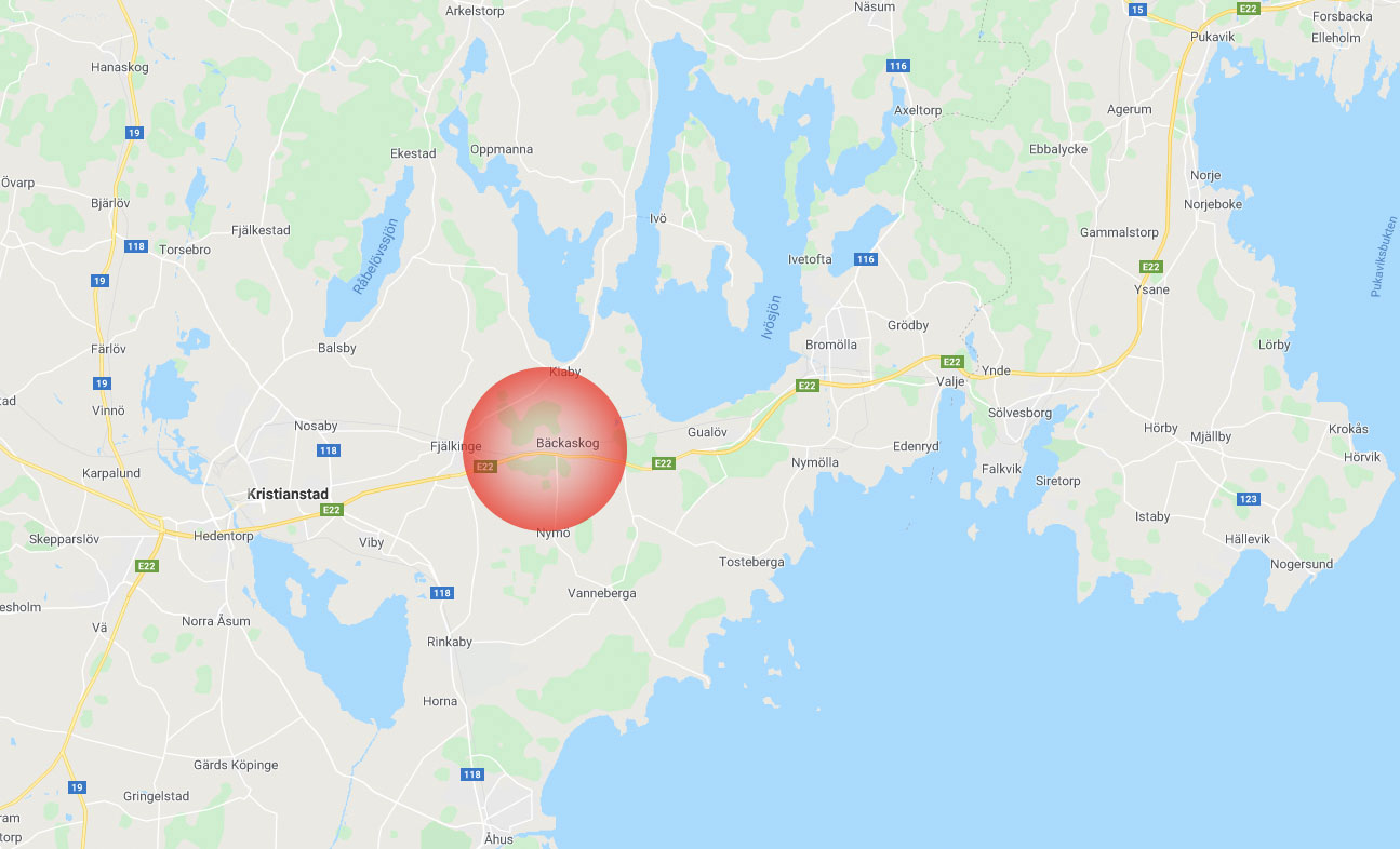 Mitt emellan Kristianstad och Bromölla ligger epicentrum för stenmårdsfynden.