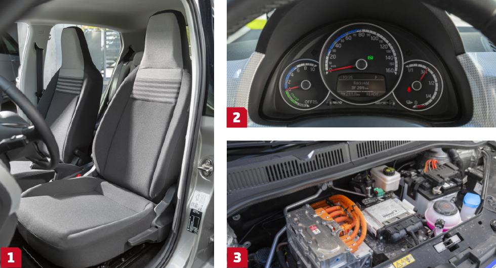 1. Simpla stolar som ger annorlunda körställning som bara passade ett fåtal förare. Armbågsutrymmet är dock bäst i trion. || 2.  Analoga mätare som är hur tydliga som helst men det vill till att man ser dem eftersom den enbart i höjdled ställbara ratten skymmer dem nästan hur man än gör. || 3.  Inte alls lika stark motor som Zoe men e-Up känns ändå kvick. Testförbrukningen blev likvärdig med Renaults, ca 15 kWh per 100 km.