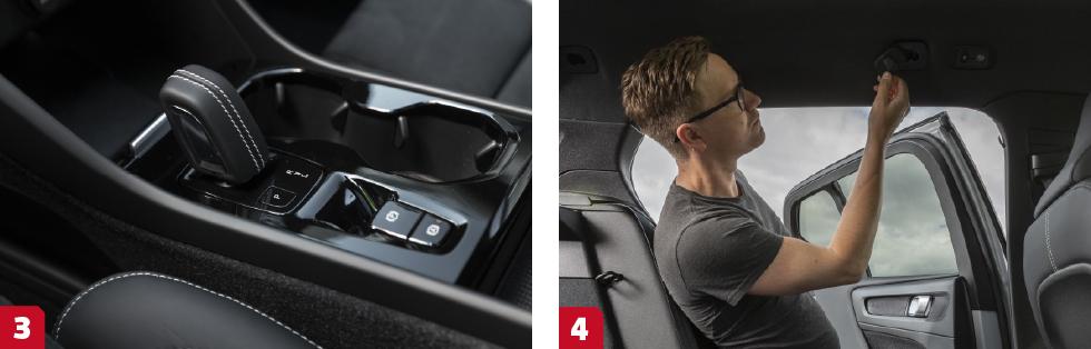 3. Sjustegad dubbelkopplingslåda är ovanligt hos Volvo men  finns i XC40 laddhybrid. Kräver oljebyte var 6 000:e mil. || 4. Bakom baksätets lastkrokar döljs takfästet till lastgallret.