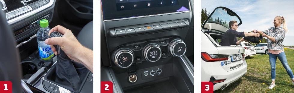 1. Föraren slår alltid i knogarna om det står en vattenflaska i drickaställen – hur tänkte BMW? ||2. Renaults klimatvred och allehanda vippreglage är lättanvända och dessutom snyggt utformade. || 3.BMW är ensam om öppningsbar bakruta – man undrar varför? En enkel och praktisk lösning.