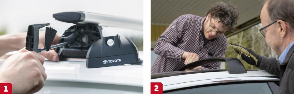 1. Toyotas lasträcken är enkla att få på plats och säkras av en medföljande momentnyckel. ||2. Teslas lastbågar har en egen typ av fastsättning för att skydda glastaket. Klisterlappar med pilar på fästs vid korrekt fästplats, lappar som snabbt fransas och ser fula ut – billigt på dyr bil!