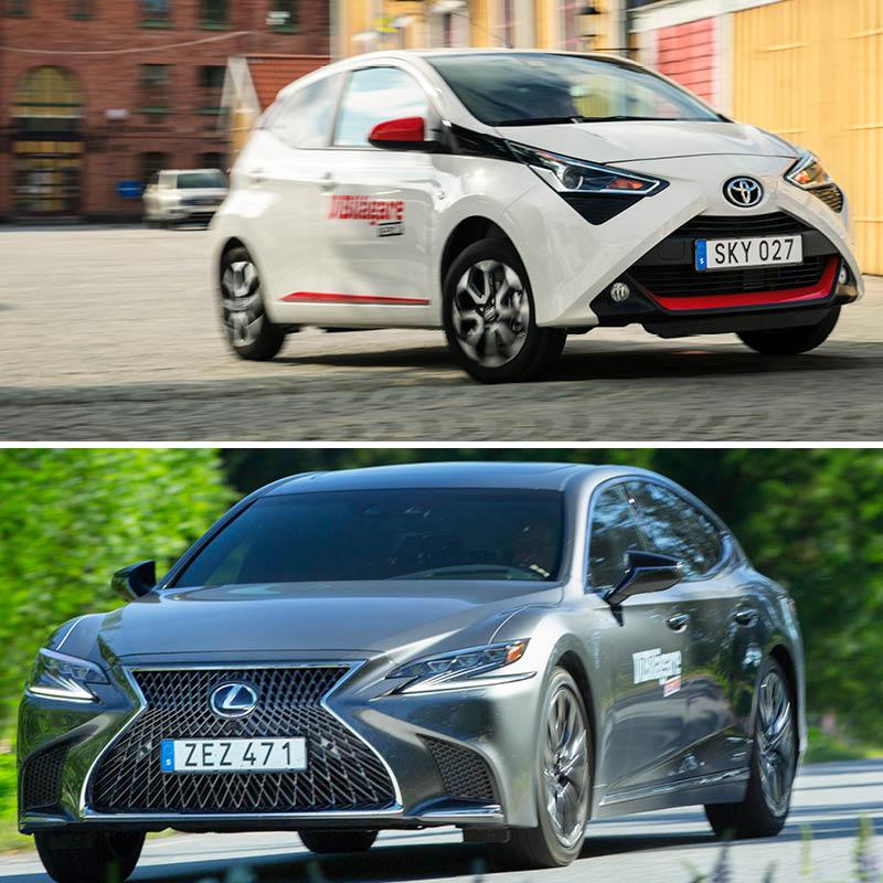 Två modeller från Toyotakoncernen står för extremerna när vi jämför milkostnaden för alla bilar vi testat de senaste tre åren. Lilla Toyota Aygo kostar bara 24 kronor milen att köra. Lexus LS är över fem gånger dyrare.