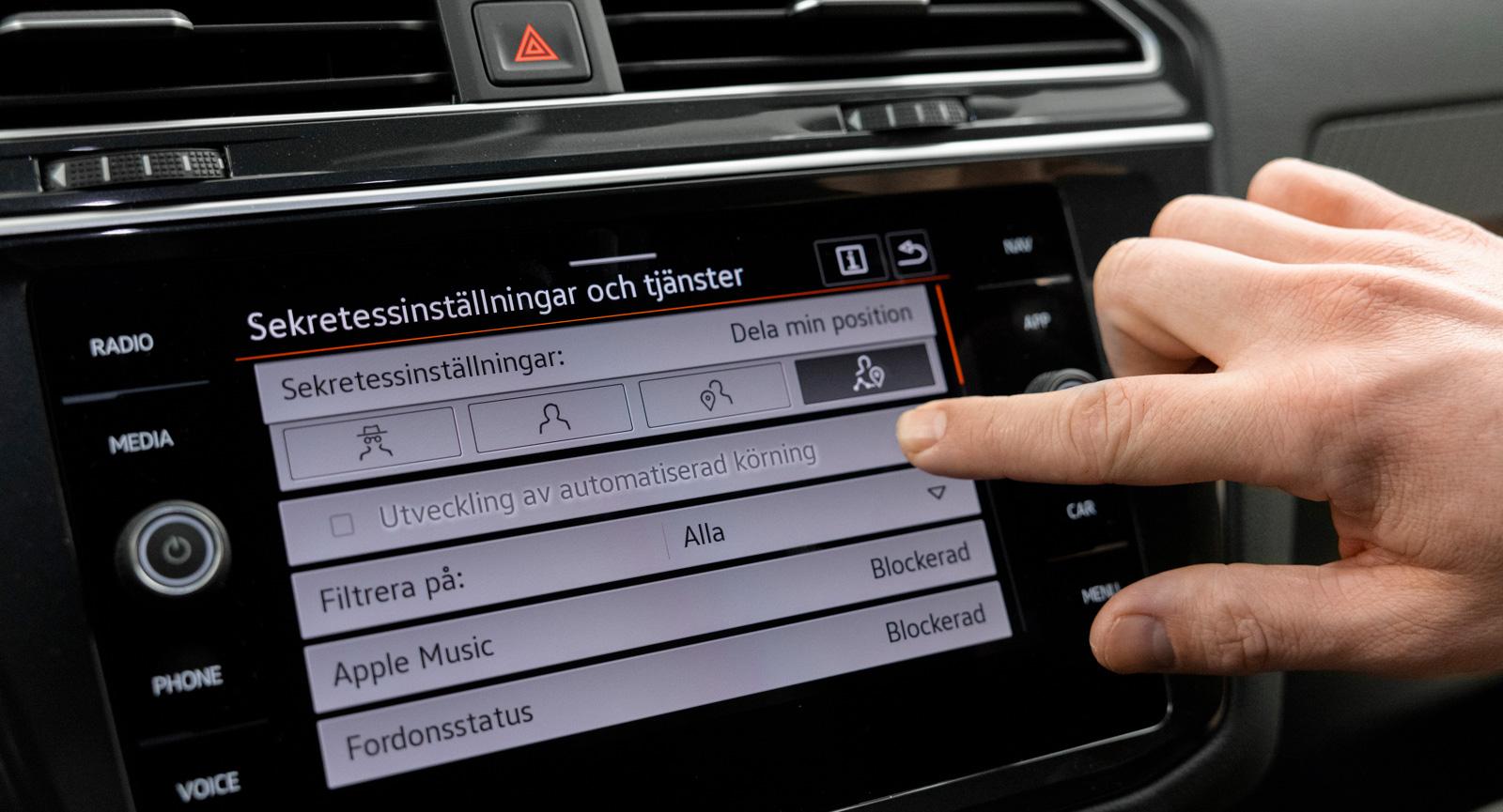 """4. VW följer Tesla. Idag går det inte att välja """"Utveckling av automatiserad körning"""" men mjukvaran är redo."""