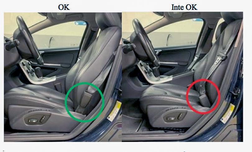 Bälteslåset ska inte böjas över dynan, visar en röd ring i återkallelsebrevet från Volvo.
