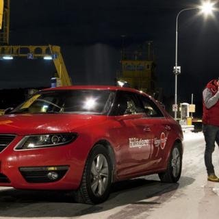 Nya Saab 9-5 fick puttas av färjan