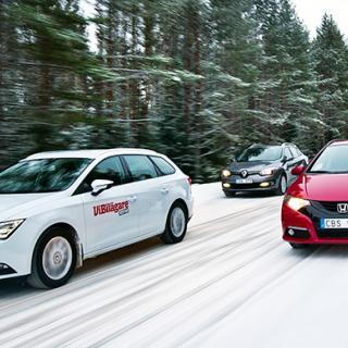 Biltest: Kia Sportage, Nissan Qashqai och Skoda Yeti.
