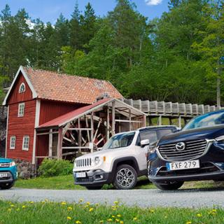 Suzuki Vitara, Jeep Renegade och Mazda CX-3, redo för Vi Bilägares trebilstest.