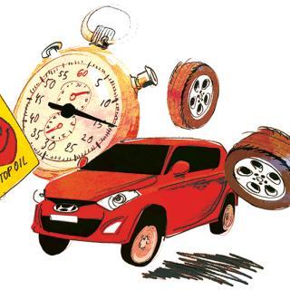 Frågeställaren undrar hur alla punkter hinns med på den timslånga servicen. Illustration: Johan Isaksson.