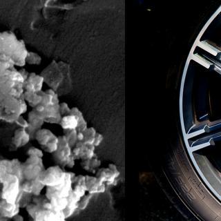 Till vänster syns en förstoring av de skadliga partiklar som alstras av bilens skivbromsar.