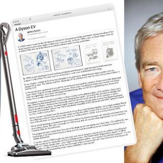 Grundaren James Dyson och brevet som ursprungligen avslöjade planerna om en elbil.