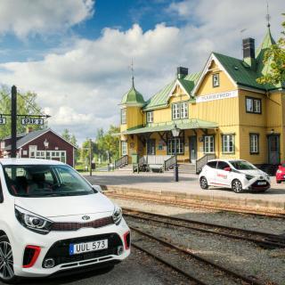 Kia Picanto (främst i bild), Volkswagen Up (röd bil) och Toyota Aygo (i mitten av de tre).