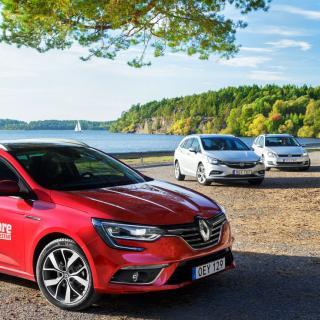 Testvärden: Opel Astra, Renault Mégane och Volkswagen Golf (2016)