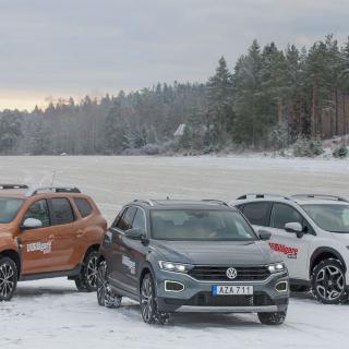 Dacia finns från 99900 kronor, VW från 214900 kronor och Subaru från 244900 kronor.
