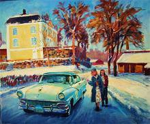 Rallytävlingen rikspokalen gick 1955 genom Ramnäs i Västmanland. Här kommer John Kvarnström i en Ford Crown Victoria på Leif Ahnlunds målning.