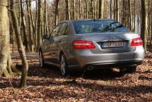 Skånsk bokskog med höstfärger trots att bilden är tagen vid vårdagjämningen. E250 CDI med fyrcylindrig dieselmotor är den variant som Mercedes är mest stolta över, trots 204 hk påstås den klara sig med 5,3 l/100 km.