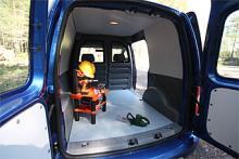 En europapall ska få plats i Caddy. Det finns även en version med längre kaross som rymmer 4,2 dm3 jämfört med 3,2 i den normallånga, dock ej i kombination med fyrhjulsdrift. Skåpinredningar finns att köpa till för allehanda behov.