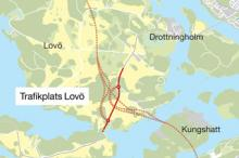 Karta över Förbifart Stockholms sträckning över Drottningholm.