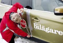 Dörren på Volvo XC60 fick tätat med silvertejp sedan låset frusit efter tvätten.