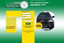 Priset för att värdera en bil på Bilpris.nu anges endast i det finstilta.