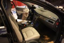 Inredningen i den nya V70 var betydligt mindre påverkad. Krockkudden på högerplatsen var avslagen. Bilen kördes av en provförare från Volvo, som dock var på privatresa med sin familj vid det olyckstillfället.