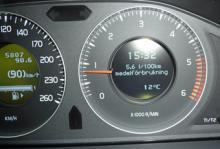 Färddatorn visade 5,6 l per 100 km, men den verkliga förbrukningen var 6,2 l per 100 km.