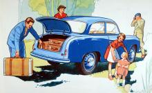 Sommaren 1954 och hela familjen ska på utflykt med sin Goliath 700, en rekorderlig vagn som bara drog 0,7 liter milen och som smattrade så gott medan den la ut en vacker blå rökslöja…