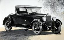 """""""Den tvåsitsiga sportvagnen  Roadster"""", kallade importören Nya Automobilfirma Holmer A.-B. i Stockholm denna solida vagn av årsmodell 1927. Motorn var i det här fallet en rak sexa, men det fanns också raka åttor i modellprogrammet."""