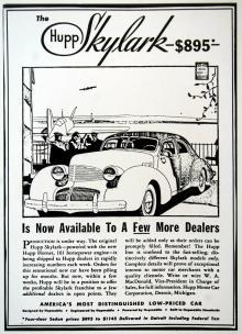 Sedan Hupmobile år 1937 hade köpt pressverktyg för den framhjulsdrivna Cord anpassade man tillverkningen för sin egen bakhjulsdrivna bil. Modellnamnet Skylark användes många år senare av Buick.