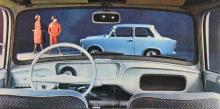 Trabant 601, Östtysklands favoritsmatterburk i många år. Som framgår av bilden hade Trabant-föraren inte så mycket att hålla rätt på bakom ratten.