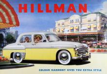 Minx från mitten av 50-talet bjöd på färgharmoni. Notera att bilen rymmer fyra pygmépassagerare!