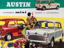 Austin Mini Countryman hette den sparsamt tillsnickrade bilen överst, och året var 1962.
