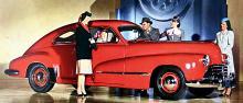 Stilledaren Oldsmobile Club Sedan 1946, med kaskadfront!