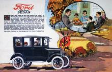 Ford-försäljningen gick så bra att man inte annonserade alls åren 1917–23! Familjebilen Ford började åter synas i tidningarna hösten 1923.