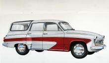 Öststaternas egen Oldsmobile Vista-Cruiser i raffinerad färgställning och lika harmoniska proportioner som sedanmodellen. Soltak var standard och toppfarten låg på 105 knutar.