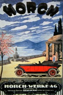 Så annonserades Horch i början av 1920-talet. Karosseriets bakdel är utformad som en diskret låda där den nedfällda suffletten förvaras.