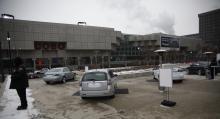 Saab – utanför Cobo Center.