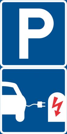 Laddplats för elfordon – nytt vägmärke.