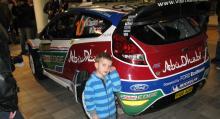 Häftig rallybil, nya Ford Fiesta WRC, tycker unga supportern Gabriel Johansson