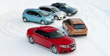 Långteststallet 2011 med Dacia Duster, Ford C-Max, Opel Meriva, Saab 9-5 och Volvo V60.