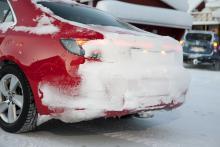 I snöväder blir Saab 9-5 så här anonym.