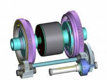 Teckningen visar hur eAWD är konstruerad. Den runda elmotorn (svart) sitter mellan ett par planetväxlar (lila) som är förbundna med drivaxlarna. En balansaxel (blå) fungerar som differential och längst fram sitter motorn som skickar drivkraften till rätt hjul.