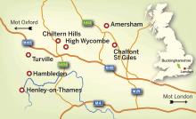Karta över Buckinghamshire.