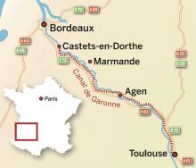 Karta: Canal de Garonne