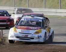 Stig-Olov Walfridsson ledde SM-finalen, men en punktering på slutet gjorde att jagande Per Eklund kunde ta sig förbi. Foto: Backmans Foto.