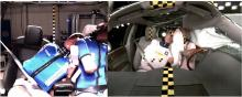 Jämförelse med och utan mittkrockkudde, förare och passagerare.