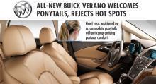 """Buick Verano welcomes ponytails"", enligt GM:s pressmaterial."